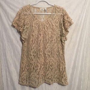 Cato Cream lace tunic short sleeve 18/20w